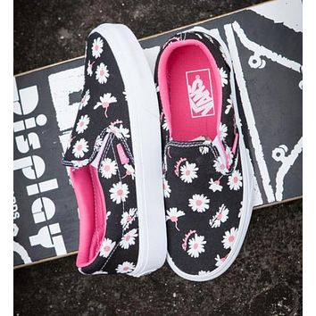 Vans Trending Women Stylish Floral Daisy Slip-On Canvas Old Skool Sneakers Sport Shoes Balck I12356-16