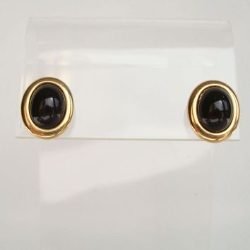 Napier Black Cabochon Pierced Earrings Designer Jewelry