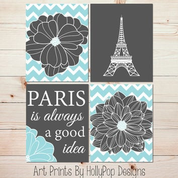 Paris is always a good idea poster print Gray Aqua Bedroom Wall Art Eiffel Tower Art Print Floral Burst Wall Art Audrey Hepburn Quote #