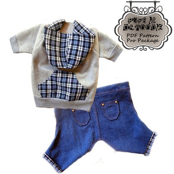 Dog Hoodie & Jeans PDF Pattern To Sew All Sizes Included