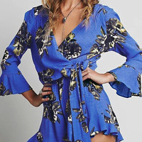 Blue Floral Print Wrap Over Long Sleeve Romper