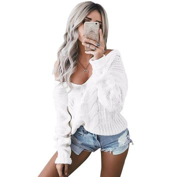 Simplee Winter white knitted sweater women Autumn hollow out pullover sweater Sexy long sleeve off shoulder sweater jumpers