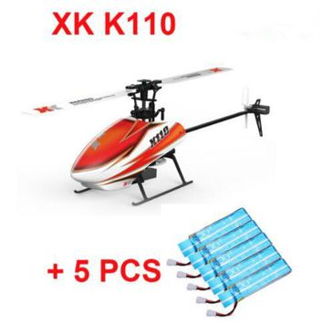 Original XK K110 BNF + 5PCS Extra Blue Battery (without transmitter ) (With Charger ) 6CH Brushless 3D 6G System RC Helicopter