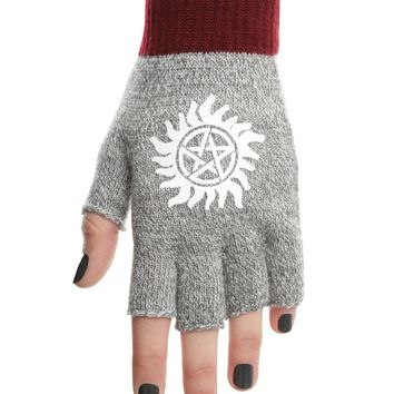Licensed cool Supernatural Anti-Possession Rune Symbol Grey Marled Fingerless Costume Gloves