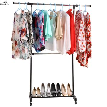 Homdox Adjustable Extendable Single Clothes Garment Drying Hanging Racks Hangers With Castors and Shoe Rack #2520