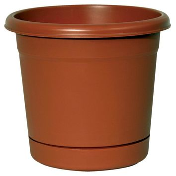 "Southern Patio RR0624TC Rolled Rim Planter w/ Attached Saucer, 6"",Terra Cotta"
