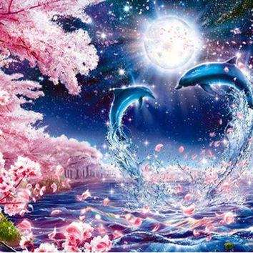 5D Diamond Painting Dolphins in the Moonlight Kit