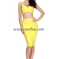 Norboe Yellow Summer Bodycon Dress 2014_Two piece_DRESS_NORBOE