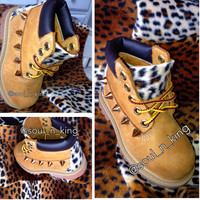 Cheetah print timberlands with gold spikes