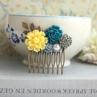 A Yellow Chrysanthemum, Blue Rose, Grey, Dusty Blue, Brass Leaf, Pearl, Antiqued Inspired Flower Hair Comb. Bridesmaid Gift. Maid Of Honor.