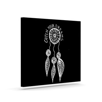 """Vasare Nar """"Catch Your Dreams Black"""" White Typography Canvas Art"""