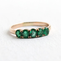 Vintage 14k Yellow Gold Emerald Ring Band - Size 8 Five Green Gemstones Fine Stacking Wedding Jewelry
