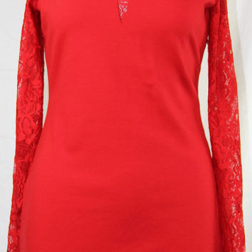 GUESS LACE CONTRAST BODYCON DRESS RED HOT