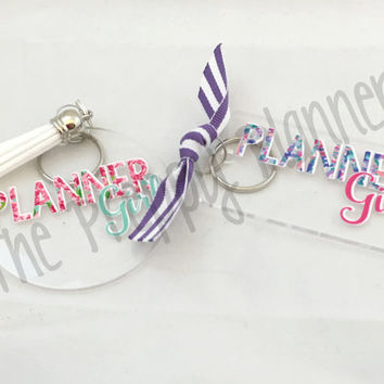 PLANNER GIRL Key Chain with Lilly Pulitzer Inspired Patterns