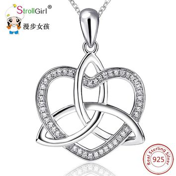 925 Sterling Silver Love Heart Cubic Zirconia girls  Silver Pendants & Necklaces  Chain jewelry Celtic Knot Necklace women 2017