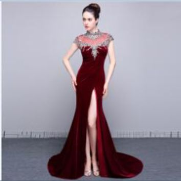 Fashion High Neck Cap Sleeves Velour Mermaid Long Prom Dresses High Slit Beaded Floor Length Prom Dress