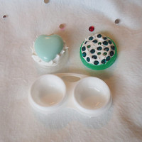 cute contact case, kawaii contact case, contact case, circle lens case, contact holder, girly contact case, decorated contact case, kawaii