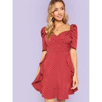 Red V-Neck Puff Sleeve Polka Dot Dress