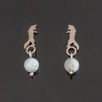Silver fox with Larimar. Fox silhouette earrings. Jumping fox earrings. Fox studs. Larimar studs. Boho jewelry. Totem jewelry. Fox totem.