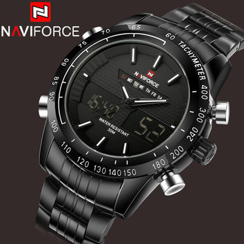 2016 New NAVIFORCE Watch Men Military Sports Watches Fashion Full Steel Waterproof LED Digital Watch For Men Clock digital-watch