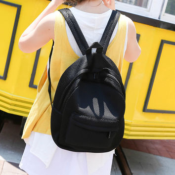 Simple Men Women Mesh Backpack Solid See-Through Zipper Small Bag Casual Speedy Bag Portable Travel Bag Rugzak Vrouwen SM6