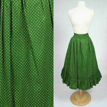 1950's green A line skirt with yellow hearts high waist fit and flare ruffled circle style skirt mid calf tea length medium skirt size 8