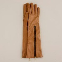 Long leather zip gloves - J.Crew