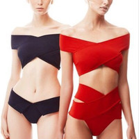 Sexy Bandage Bikini Sets Women 2017 Solid Red Off Shoulder Retro Swimsuits High Waist Bikini Brazilian Swimwear Bathing Suits