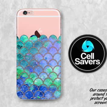 Mermaid Scales Clear iPhone 6s Case iPhone 6 Case iPhone 6 Plus Case iPhone 6s Plus iPhone 5c Case iPhone 5 Clear Case Blue Green Cute Scale