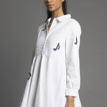 Musician Swing Dress White  **Backorder, Ships 2/8**