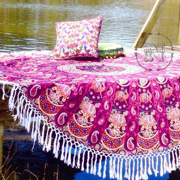Round Beach Towel Roundie Boho Hippy Junk Gypsy Tee Pee Blanket Wedding Graduation Birthday Mothers Day Bridesmaid Gift Mandala Throw Pool