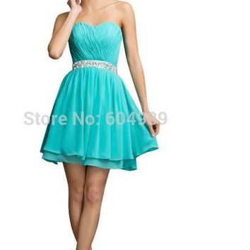 Grace Karin Plus Size Short Prom dresses 2018 Turquoise Mini Dinner Party Dress Gown Back to School Homecoming Dress 7534
