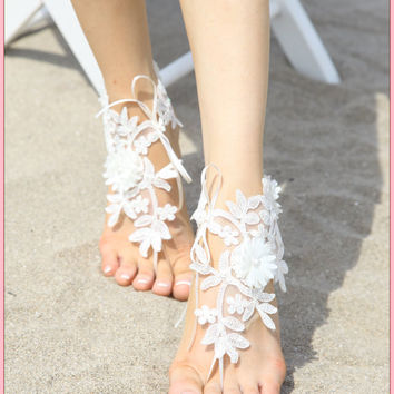 white crochet barefoot sandals - white lace wedding sandles - bridesmaid bridal barefoot sandals - bohemian earthing beach footless anklets