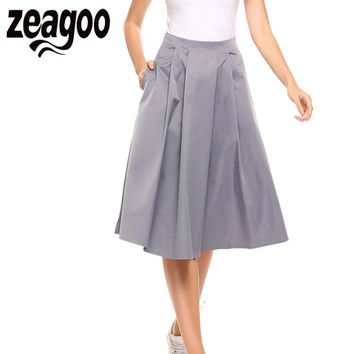 Zeagoo Women Elegant High Waist A Line Retro Style Pleated Solid Zipper Pocket Skirt Summer Casual Midi Skirts Saias Femininas