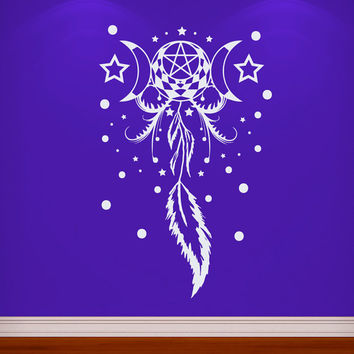 Dream Catcher Wall Decals Indian Amulet Stars and Moon Feathers Home Interior Vinyl Decal Sticker Dorm Decal Mural Bedroom Wall Decor MR399