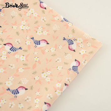 Booksew New Arrival Cotton Twill Fabric Beige Bird Style Home Textile Quilting Fabric Tissue For Bedding Clothing Baby Quilting