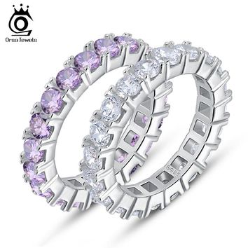 ORSA JEWELS Luxury Austrian Crystal Finger Eternity Ring with Purple or Clear AAA Cubic Zirconia Silver Color Ring Jewelry OR31