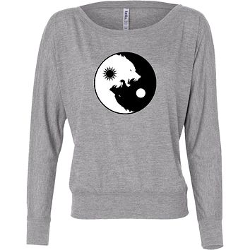 Yoga Clothing For You Yin Yang Wolves Flowy Off-the-Shoulder Yoga Tee Shirt