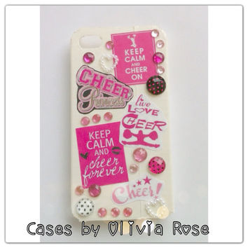 Pink and White Bling Cheer Case by CasesbyOliviaRose on Etsy