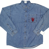 Indiana Hoosiers Denim Long Sleeve Button Shirt Sizes M-XXL