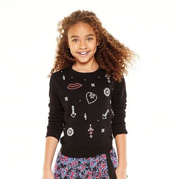Disney D-Signed Sparkle Embellished Sweatshirt - Girls