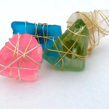 Chunky Sea Glass Wire Wrapped Ring