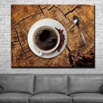 Coffee on Wood Kitchen and Dining Room Wall Decor Canvas Set