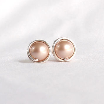 Beige Swarovski Pearl Stud Earrings, Hypoallergenic Ear Post, Wire Wrapped Jewelry