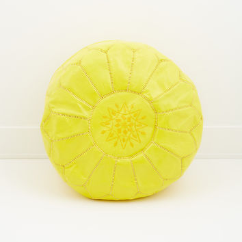 Moroccan Leather Pouf, Limoncello