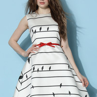 Sing a Love Song Printed Dress in Stripes White