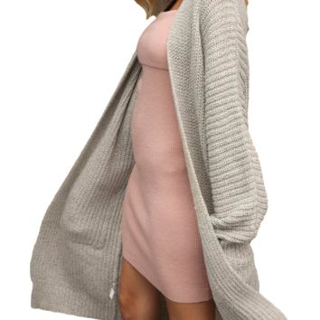 Women's Apricot/Khaki Autumn Long Cable Knit Sweater Cardigan Sweater Jacket