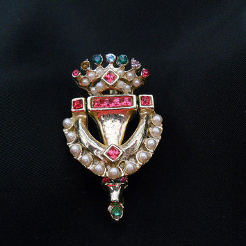Vintage 1950s Door Knocker Brooch - 50s Small Doorknocker Rhinestone Pin