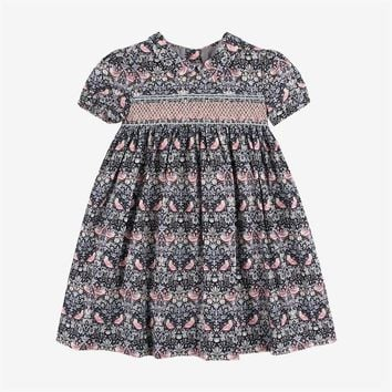 Summer&Spring Floral Pattern Baby Girls Dress Full Print Party Boutique Smocking Bird Pattern Dress for Girls Cherry Clothes