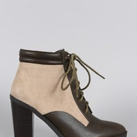 Qupid Two Tone Pointy Toe Lace Up Heeled Combat Ankle Boots